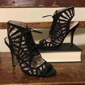 "Betsey Johnson ""Lexxe"" caged sandal heels"